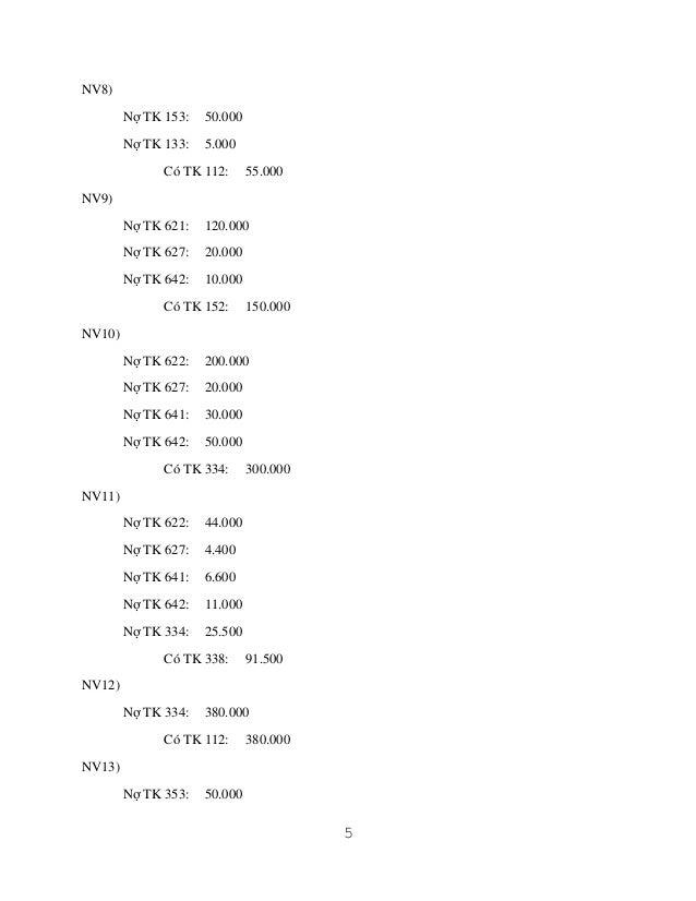 NV8) Nợ TK 153:  50.000  Nợ TK 133:  5.000  Có TK 112:  55.000  NV9) Nợ TK 621:  120.000  Nợ TK 627:  20.000  Nợ TK 642:  ...