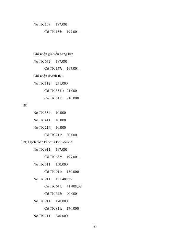 Nợ TK 157:  197.001  Có TK 155:  197.001  Ghi nhận giá vốn hàng bán Nợ TK 632:  197.001  Có TK 157:  197.001  Ghi nhận doa...