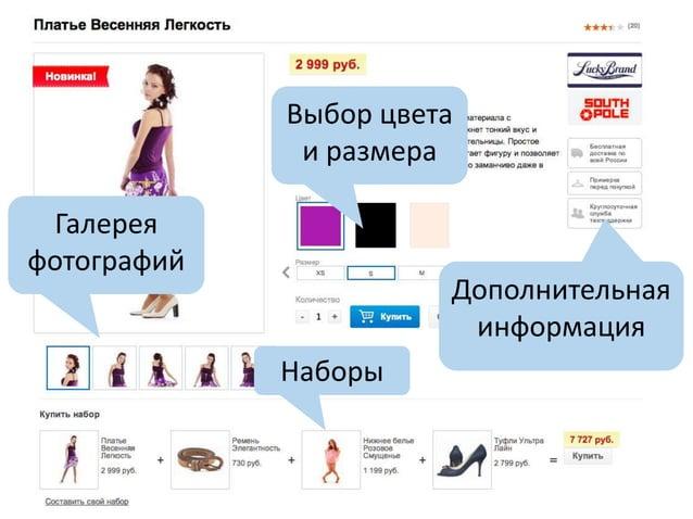Галерея фотографий Выбор цвета и размера Дополнительная информация Наборы