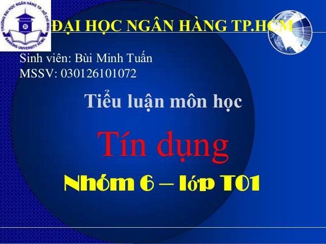 ĐẠI HỌC NGÂN HÀNG TP.HCMSinh viên: Bùi Minh TuấnMSSV: 030126101072           Tiểu luận môn học             Tín dụng       ...
