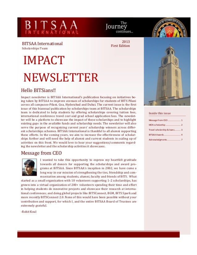 IMPACT NEWSLETTER BITSAA International Scholarships Team Inside this issue Message from CEO..................... 1 MCN sch...