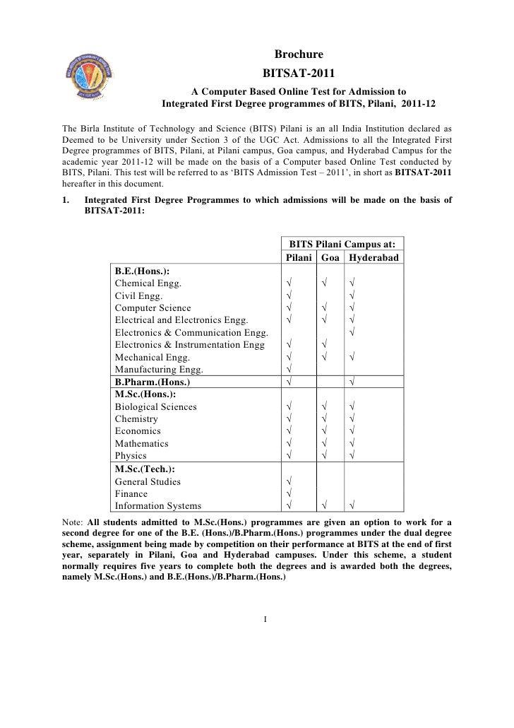 Brochure                                                   BITSAT-2011                               A Computer Based Onli...