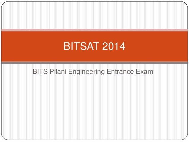 BITSAT 2014 BITS Pilani Engineering Entrance Exam