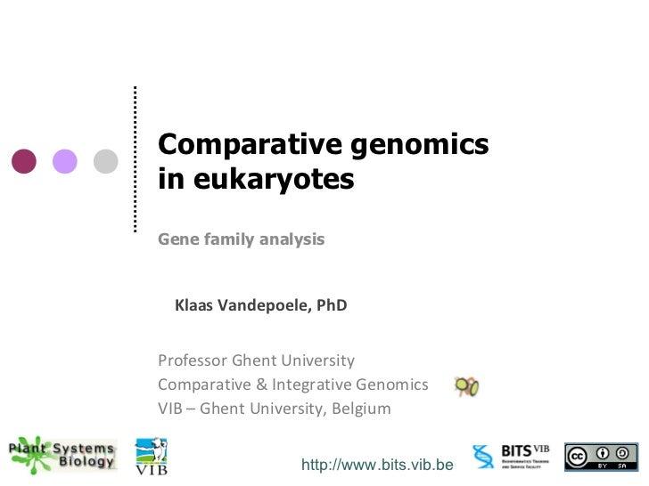 Comparative genomicsin eukaryotesGene family analysis  Klaas Vandepoele, PhDProfessor Ghent UniversityComparative & Integr...