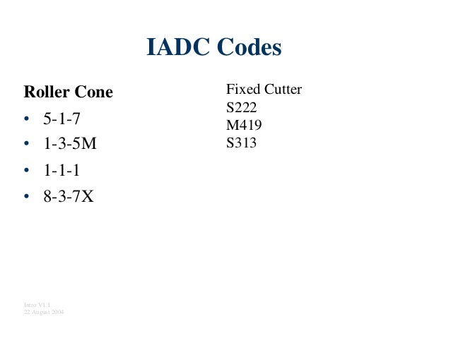 IADC Codes Fixed Cutter S222 M419 S313 Roller Cone • • • • 5-1-7 1-3-5M 1-1-1 8-3-7X Intro V1.1 22 August 2004
