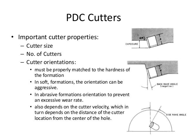 PDC Cutters • Important cutter properties: – Cutter size – No. of Cutters – Cutter orientations: • must be properly matche...