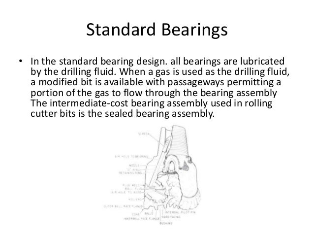 Standard Bearings • In the standard bearing design. all bearings are lubricated by the drilling fluid. When a gas is used ...