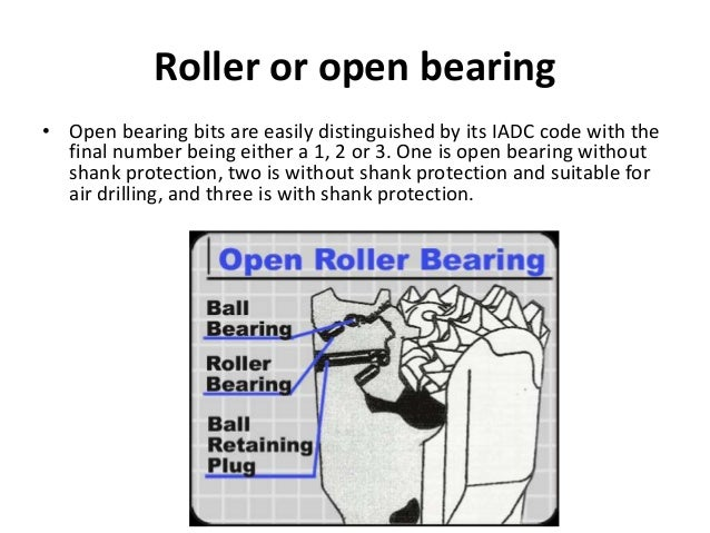 Roller or open bearing • Open bearing bits are easily distinguished by its IADC code with the final number being either a ...