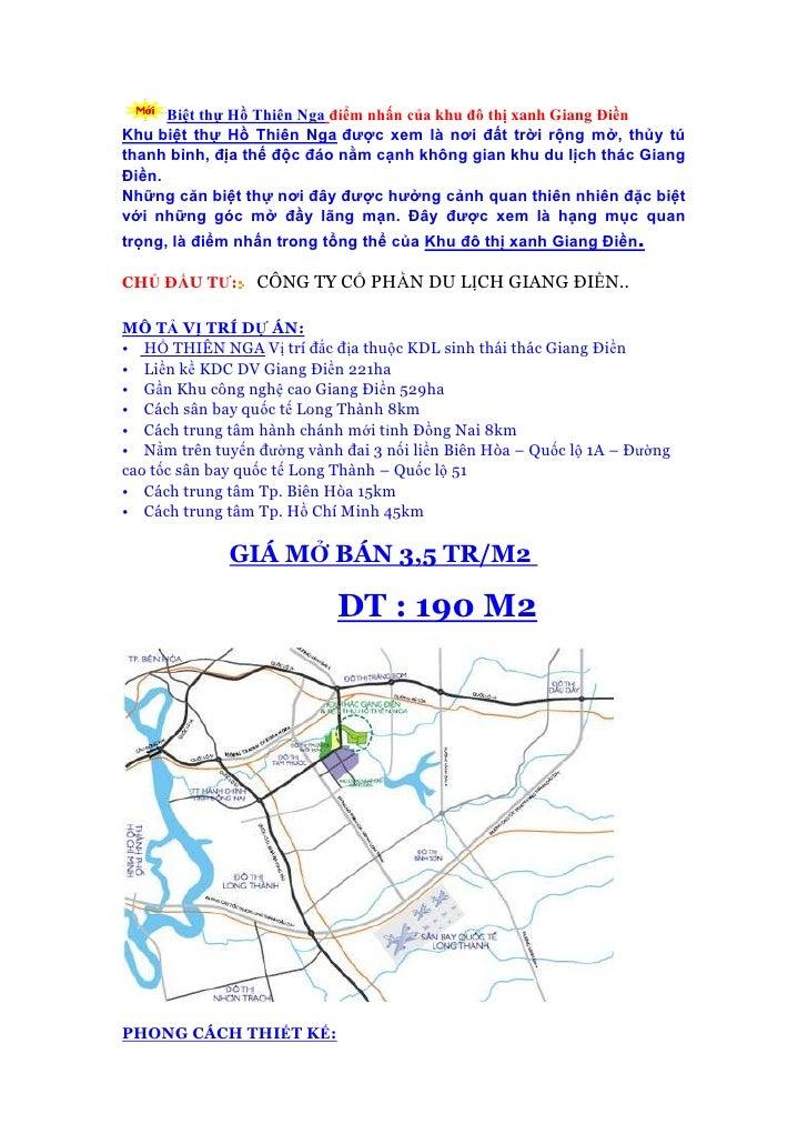 Biệt thự Hồ Thiên Nga điểm nhấn của khu đô thị xanh Giang ĐiềnKhu biệt thự Hồ Thiên Nga được xem là nơi đất trời rộng mở, ...