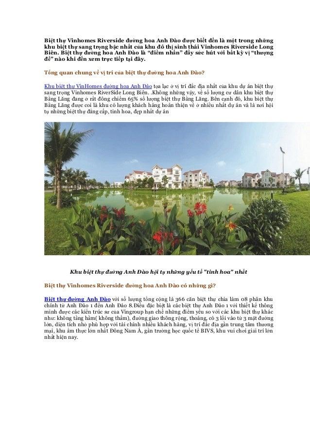 Biệt thự Vinhomes Riverside đường hoa Anh Đào được biết đến là một trong những khu biệt thự sang trọng bậc nhất của khu đô...
