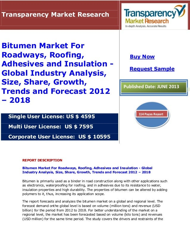 REPORT DESCRIPTIONBitumen Market For Roadways, Roofing, Adhesives and Insulation - GlobalIndustry Analysis, Size, Share, G...