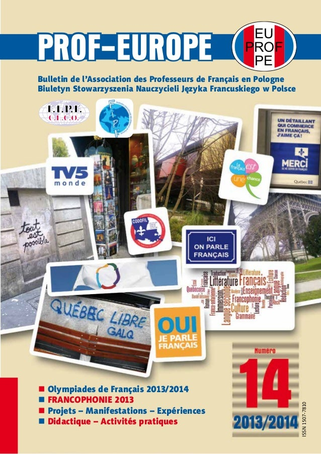 EU  PROF  PE PROF-EUROPE  Bulletin de l'Association des Professeurs de Français en Pologne  Biuletyn Stowarzyszenia Nauczy...