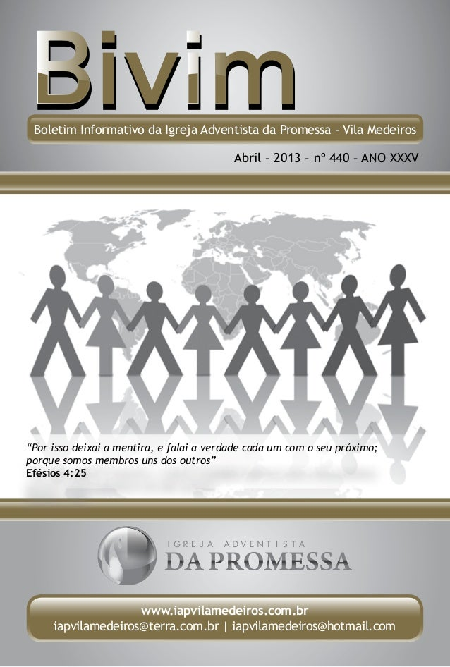 Boletim Informativo da Igreja Adventista da Promessa - Vila Medeiros                                          Abril – 2013...
