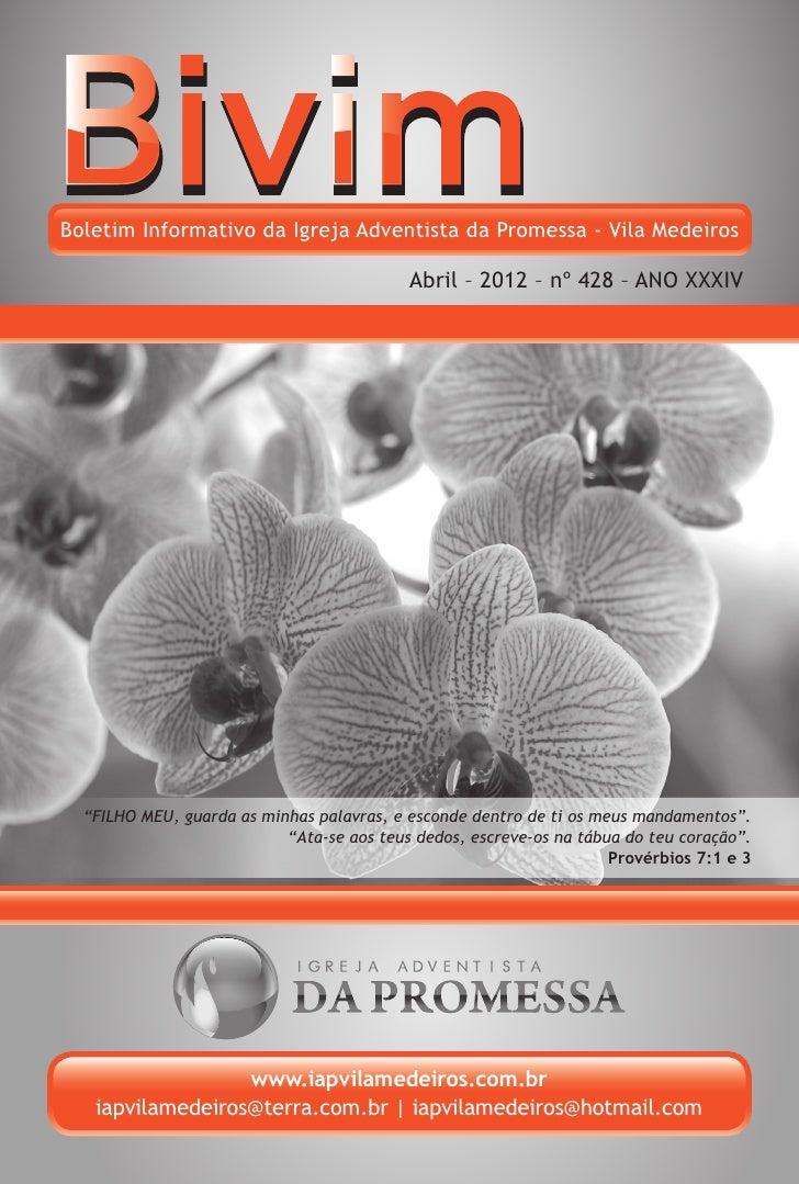 Boletim Informativo da Igreja Adventista da Promessa - Vila Medeiros                                           Abril – 201...