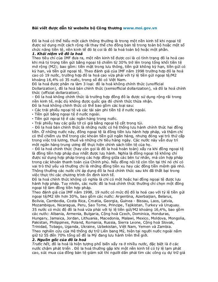 Bài viết được dẫn từ website bộ Công thương www.moi.gov.vnĐô la hoá có thể hiểu một cách thông thường là trong một nền kin...