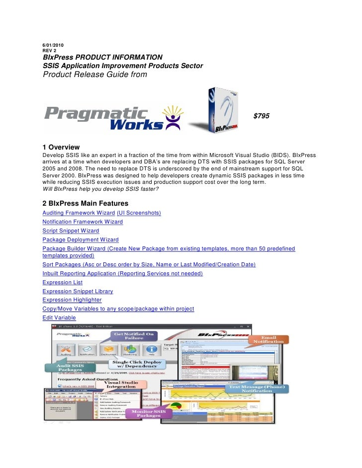 6/01/2010 REV 2 BIxPress PRODUCT INFORMATION SSIS Application Improvement Products Sector Product Release Guide from      ...
