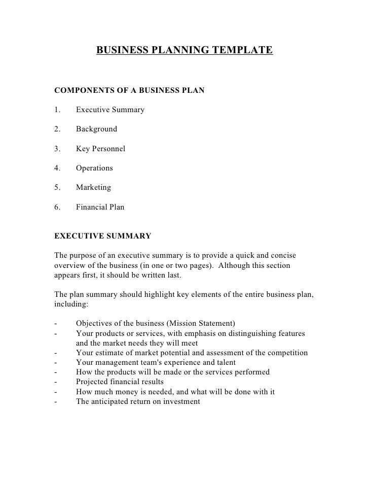 BUSINESS PLANNING TEMPLATECOMPONENTS OF A BUSINESS PLAN1.    Executive Summary2.    Background3.    Key Personnel4.    Ope...