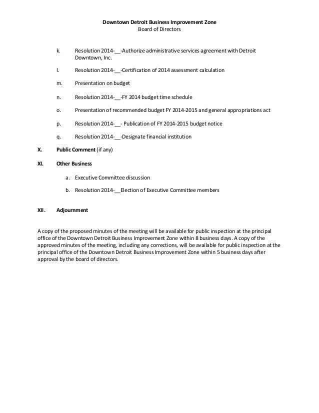 Downtown Detroit BIZ Board Meeting Materials August 12, 2014