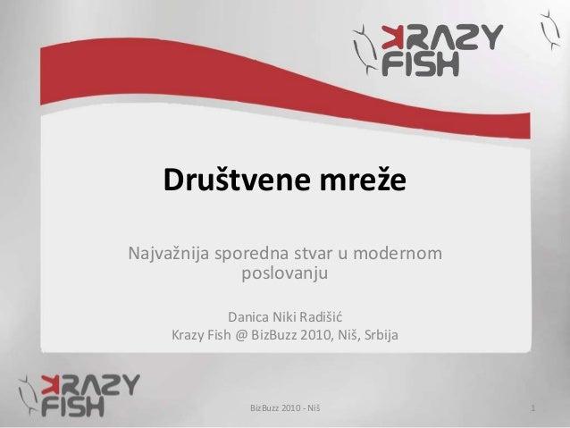 Društvene mreže Najvažnija sporedna stvar u modernom poslovanju Danica Niki Radišić Krazy Fish @ BizBuzz 2010, Niš, Srbija...