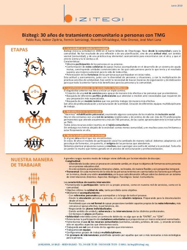 Bizitegi: 30 años de tratamiento comunitario a personas con TMG Pablo Ruiz, Xabier Zipitria, Fermín Satrústegi, Ricardo Ofi...