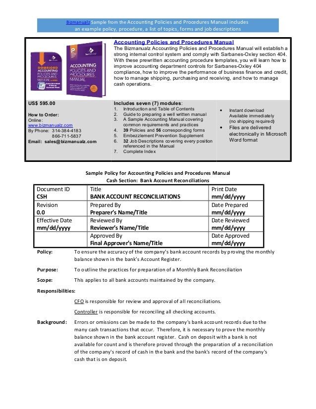 bizmanualz accounting policies and procedures sample rh slideshare net accounting policies and procedures manual for construction company Accounting Policies and Procedures Template