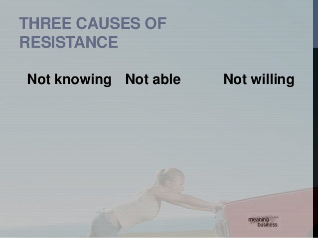 OVERCOMING  RESISTANCE  1. Listening  2. Understanding the nature  and reasons for resistance  3. Facilitation and support...