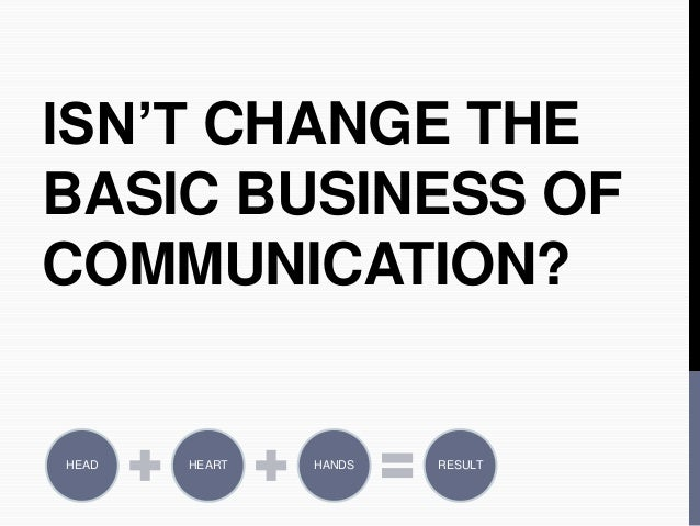 ISN'T CHANGE THE  BASIC BUSINESS OF  COMMUNICATION?  HEAD HEART HANDS RESULT
