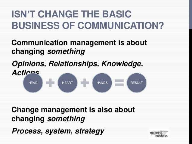 ISN'T CHANGE THE BASIC  BUSINESS OF COMMUNICATION?  Communication management is about  changing something  Opinions, Relat...