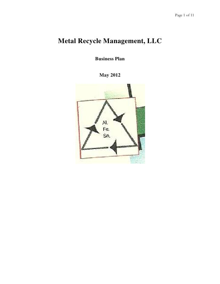 Page 1 of 11Metal Recycle Management, LLC          Business Plan           May 2012