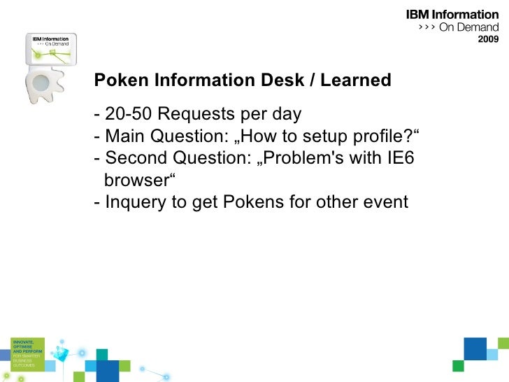 """Poken Information Desk / Learned - 20-50 Requests per day - Main Question: """"How to setup profile?"""" - Second Question: """"Pro..."""