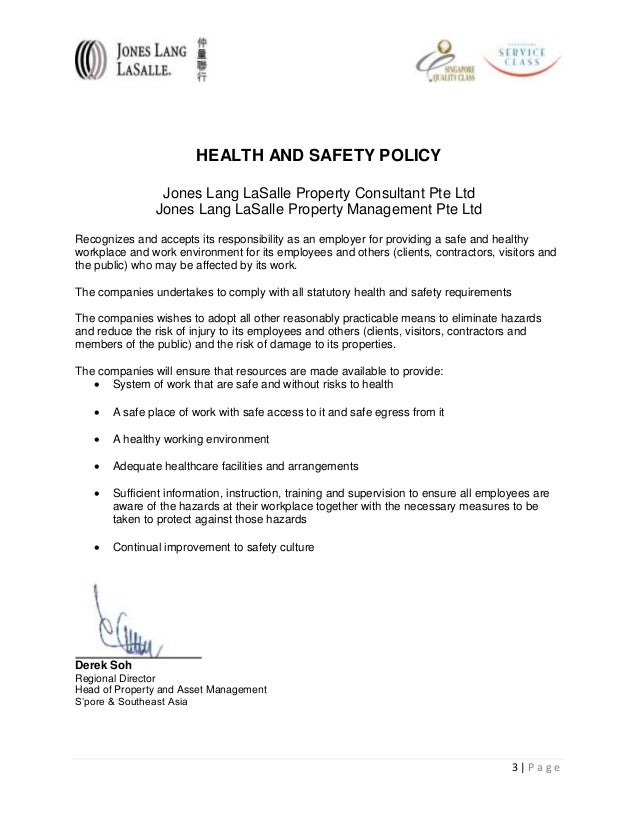Bizsafe risk assessment – Sample Health and Safety Policy