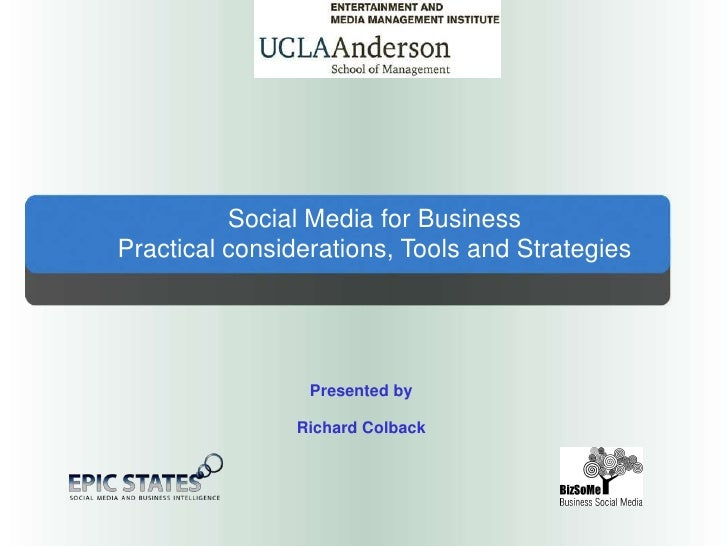 Social Media for Business<br />Practical considerations, Tools and Strategies<br />Presented by<br />Richard Colback<br />
