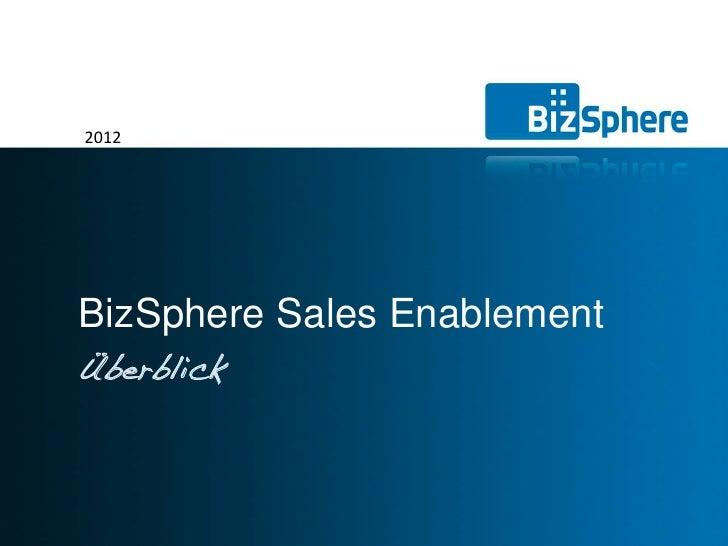 2012BizSphere Sales EnablementÜberblick                             © BIZSPHERE AG                             1