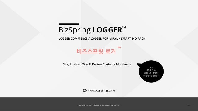 Copyright 2002-2016 BizSpring Inc. All Rights Reserved. BizSpring LOGGER Site, Product, Viral & Review Contents Monitoring...