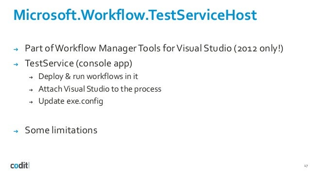 Microsoft.Workflow.TestServiceHost 17 ➔ Part ofWorkflow ManagerTools forVisual Studio (2012 only!) ➔ TestService (console ...