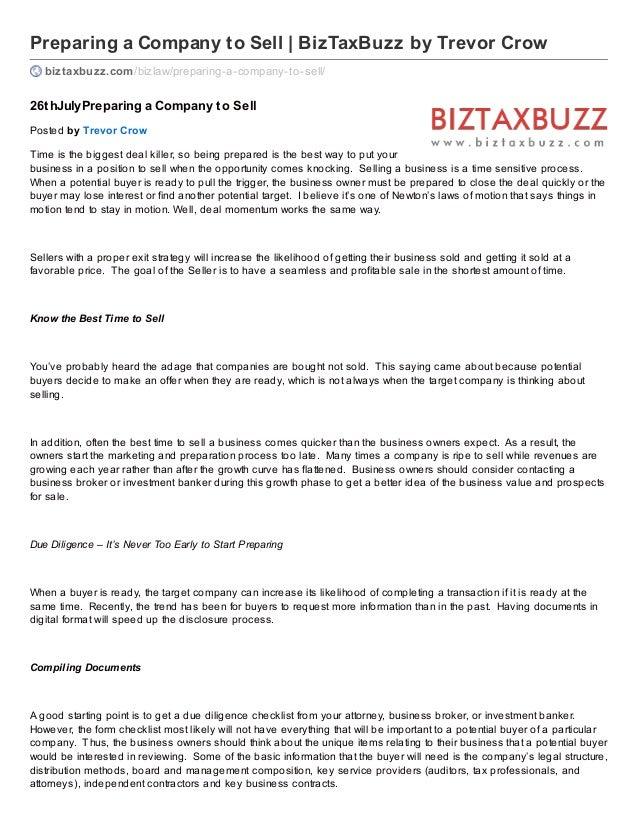 Preparing a Company to Sell | BizTaxBuzz by Trevor Crow biztaxbuzz.com/bizlaw/preparing-a-company-to-sell/ 26thJulyPrepari...