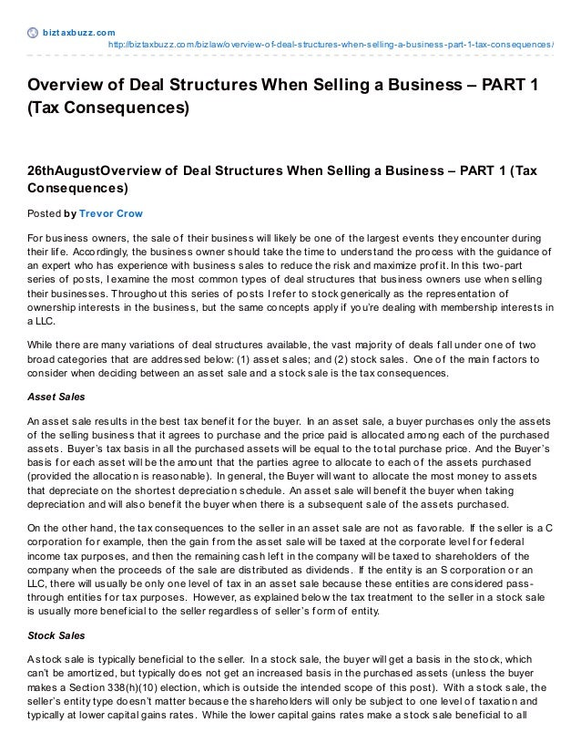 bizt axbuzz.com http://biztaxbuzz.com/bizlaw/overview-of-deal-structures-when-selling-a-business-part-1-tax-consequences/ ...