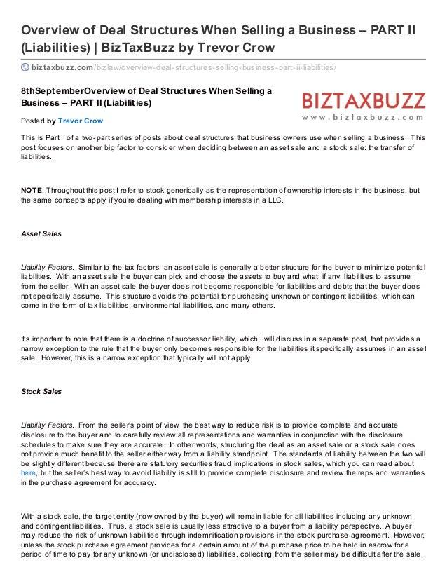 Overview of Deal Structures When Selling a Business – PART II (Liabilities) | BizTaxBuzz by Trevor Crow biztaxbuzz.com/biz...