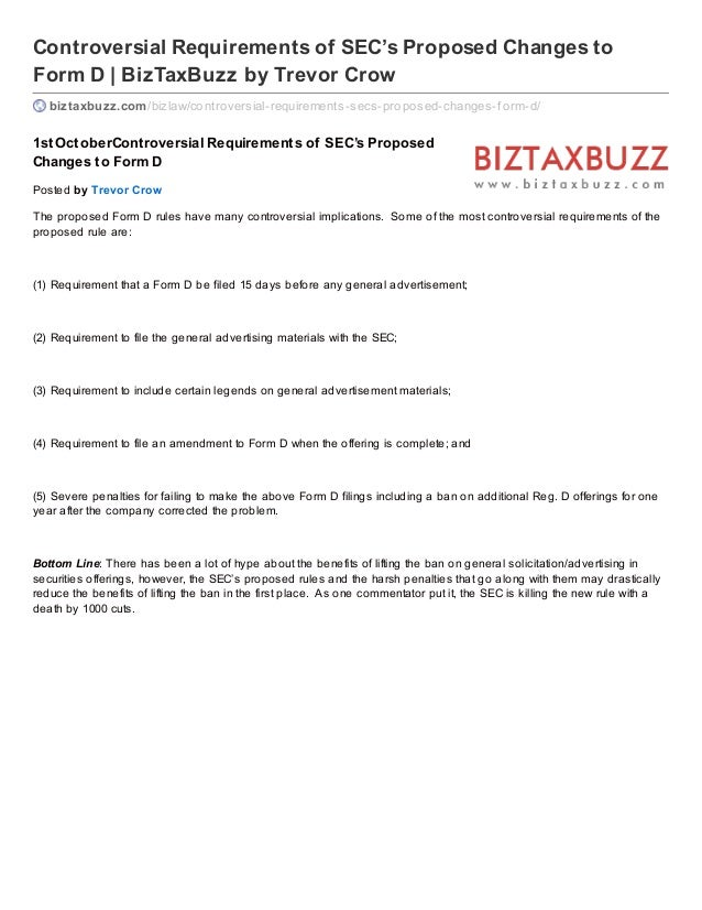 Controversial Requirements of SEC's Proposed Changes to Form D | BizTaxBuzz by Trevor Crow biztaxbuzz.com/bizlaw/controver...