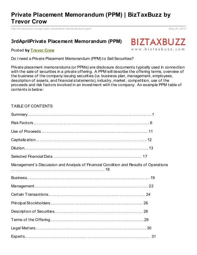 http://biztaxbuzz.com/private-placement-memorandum-ppm/ May 21, 2013Private Placement Memorandum (PPM) | BizTaxBuzz byTrev...
