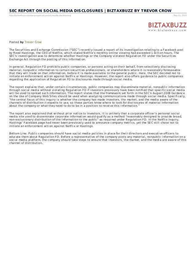 http://biztaxbuzz.com/sec-report-on-social-media-disclosures/ May 21, 2013SEC REPORT ON SOCIAL MEDIA DISCLOSURES | BIZTAXB...