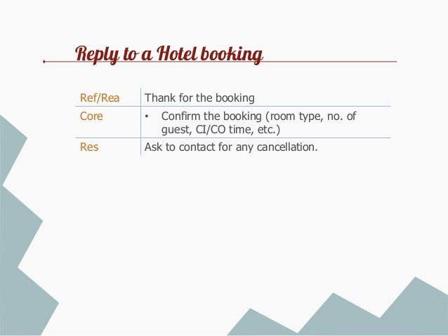 yours faithfully 8 reply to a hotel booking
