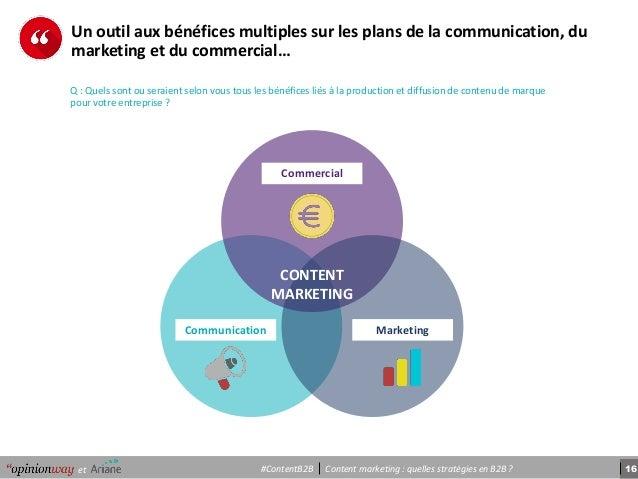 16Content marketing : quelles stratégies en B2B ?et #ContentB2B Un outil aux bénéfices multiples sur les plans de la commu...