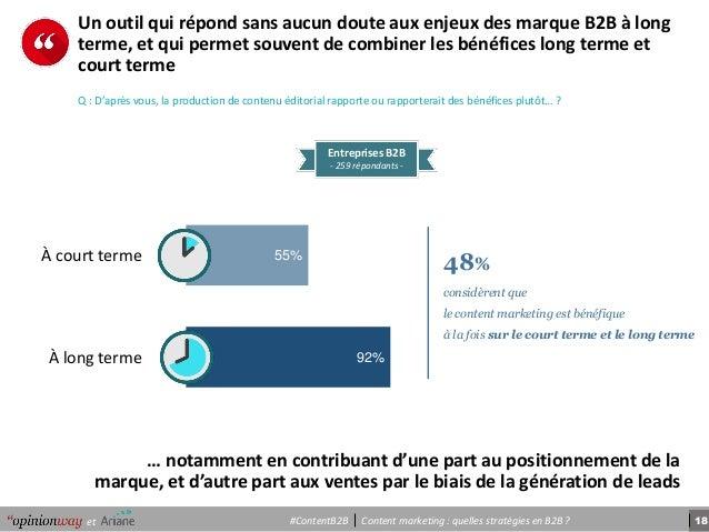 18Content marketing : quelles stratégies en B2B ?et #ContentB2B … notamment en contribuant d'une part au positionnement de...