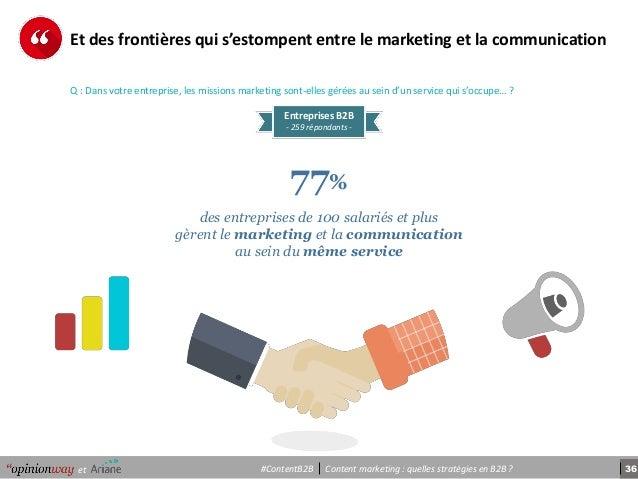 36Content marketing : quelles stratégies en B2B ?et #ContentB2B Et des frontières qui s'estompent entre le marketing et la...
