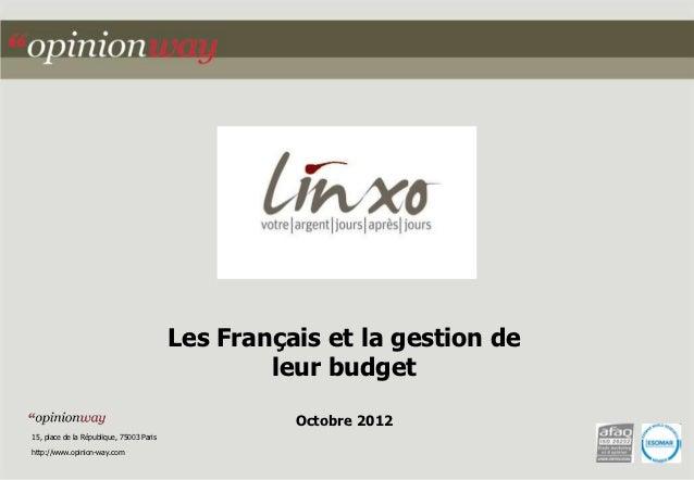 Les Français et la gestion de                                                  leur budget                                ...
