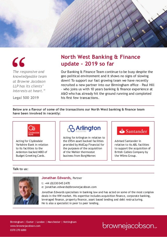 Our Banking & Finance Team continue to be busy despite the geo political environment and it shows no signs of slowing down...