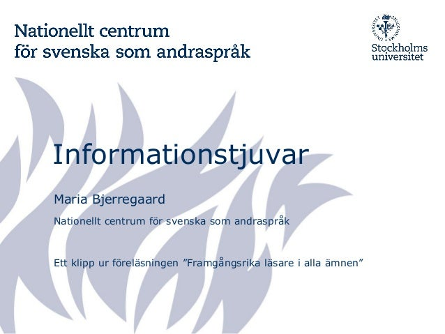 """Informationstjuvar Maria Bjerregaard Nationellt centrum för svenska som andraspråk Ett klipp ur föreläsningen """"Framgångsri..."""
