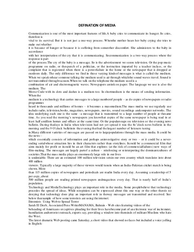 defination of mass media Meaning of mass media in the spanish dictionary with examples of use synonyms for mass media and translation of mass media to 25 languages.