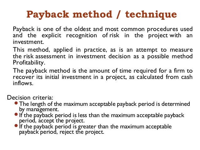 One greater amount payback time